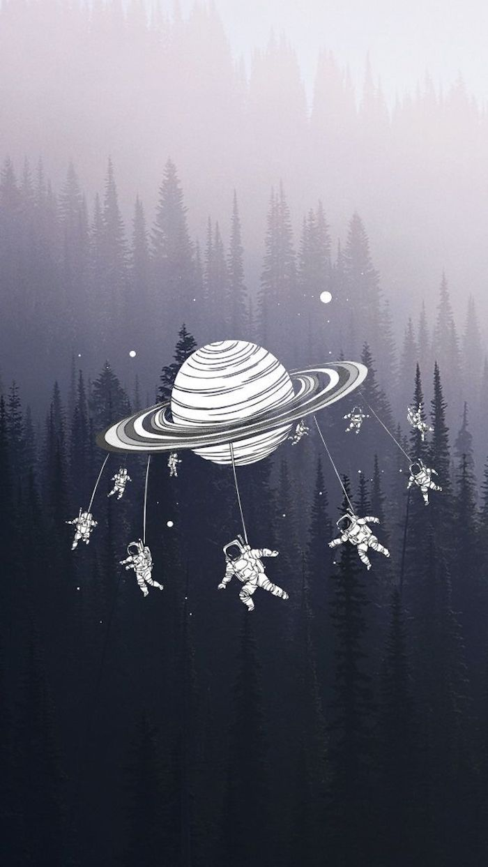 tall trees, surrounded by fog, tumblr screensavers, planet and astronauts drawing