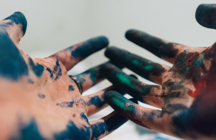 two hands, covered in paint, blue green and orange, girl wallpapers for iphone