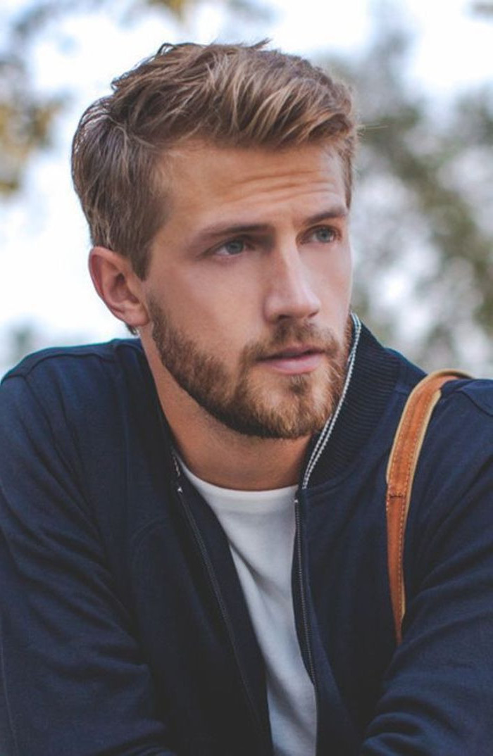 blonde hair, hairstyles for men with thick hair, navy jacket, white shirt