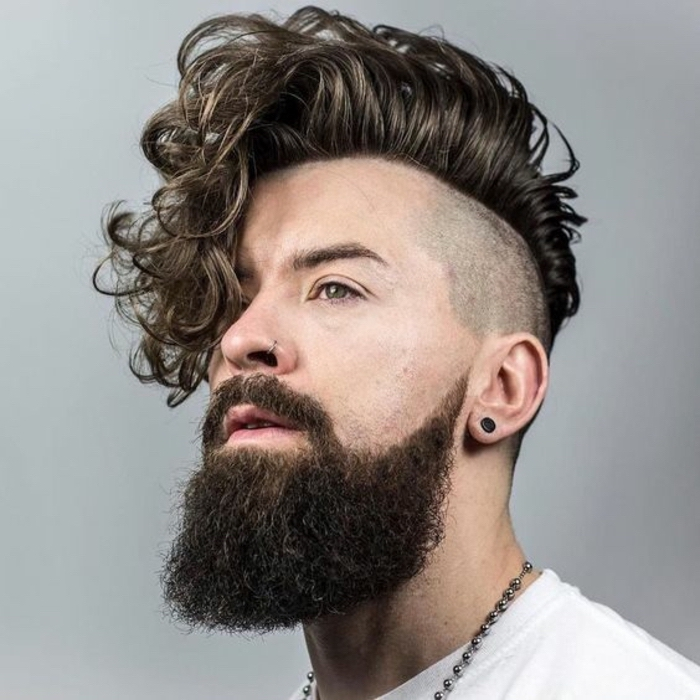 long black curly hair, hairstyles for men with thick hair, white shirt, black beard