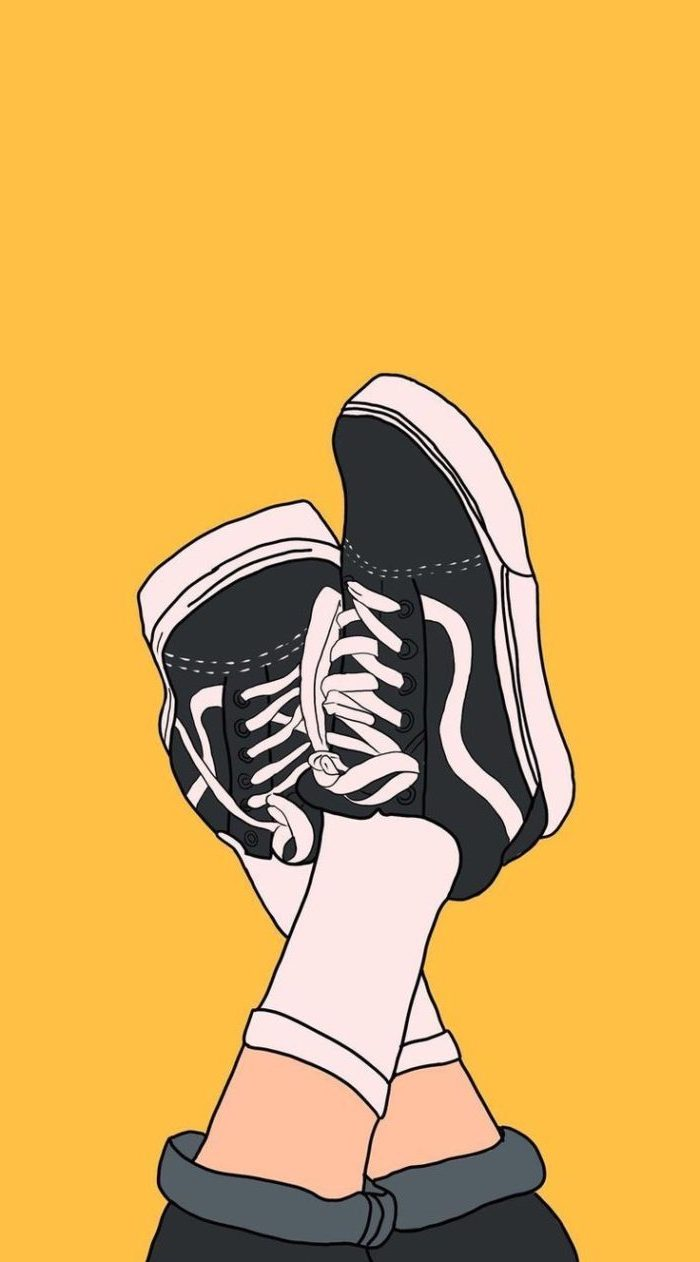 vans off the wall sneakers, on a yellow background, cute background pictures