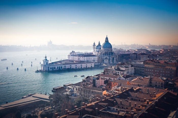 venice city landscape, girl wallpapers for iphone, blue sky, lots of buildings