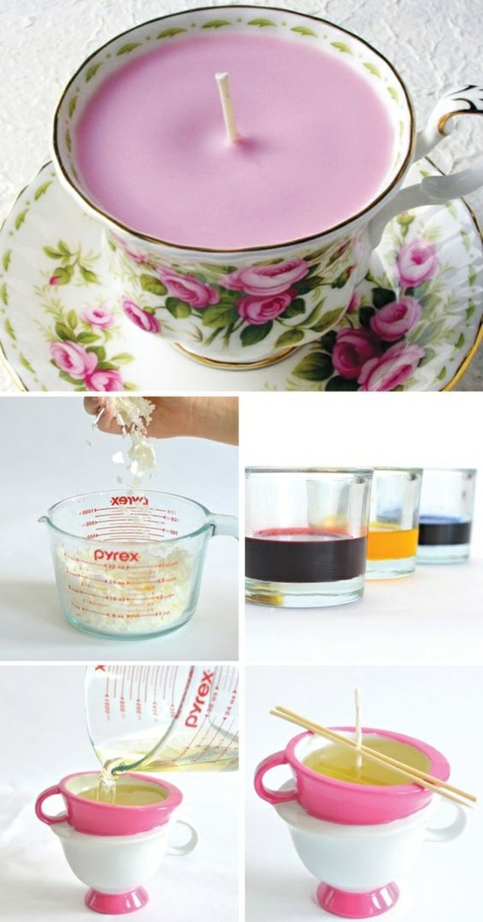 vintage teacup candles, step by step, diy tutorial, mason jar candles, different colours wax
