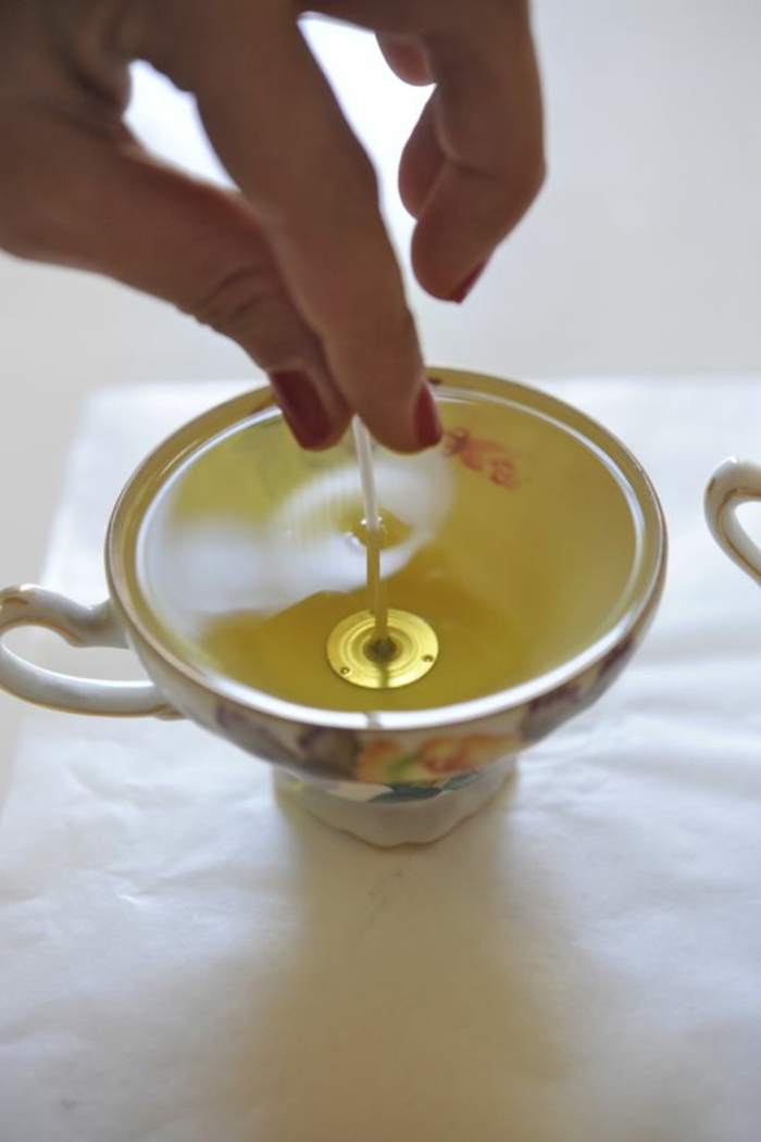 vintage tea cup, how to make candles at home, candle wick, white paper