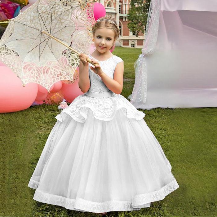vintage white lace umbrella, toddler flower girl dresses, white lace and tulle dress, blonde hair, low updo