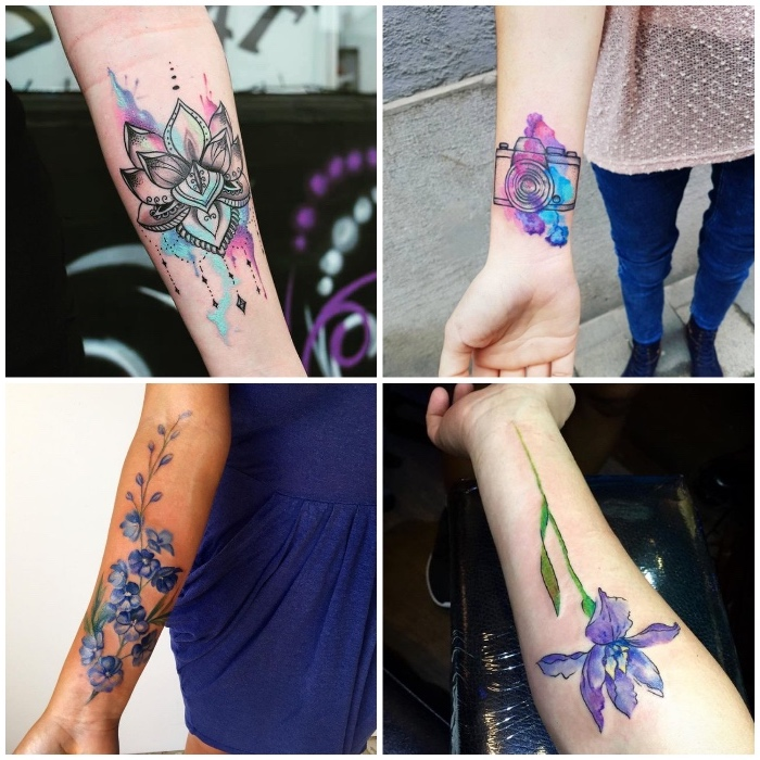 side by side photos, watercolour forearm tattoos, small tattoos for men