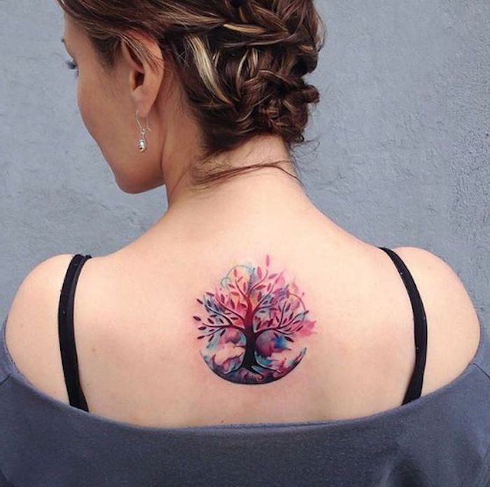 grey blouse, watercolour tree, back tattoo, what tattoo should i get, brown braided hair