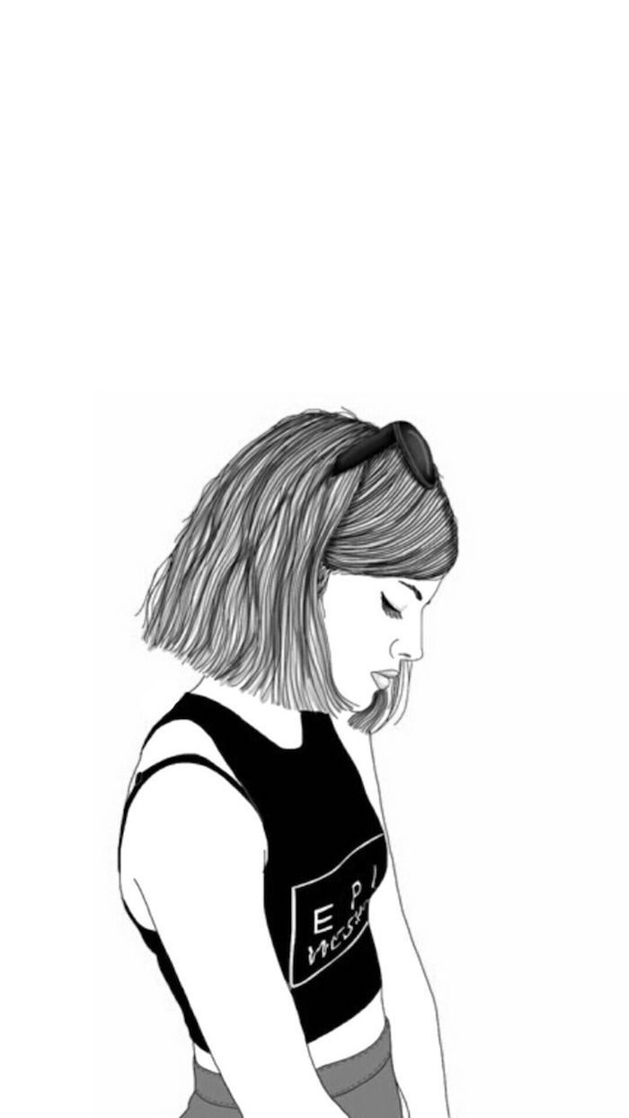 girl drawing, girl wallpapers for iphone, black and white sketch, black top, white background