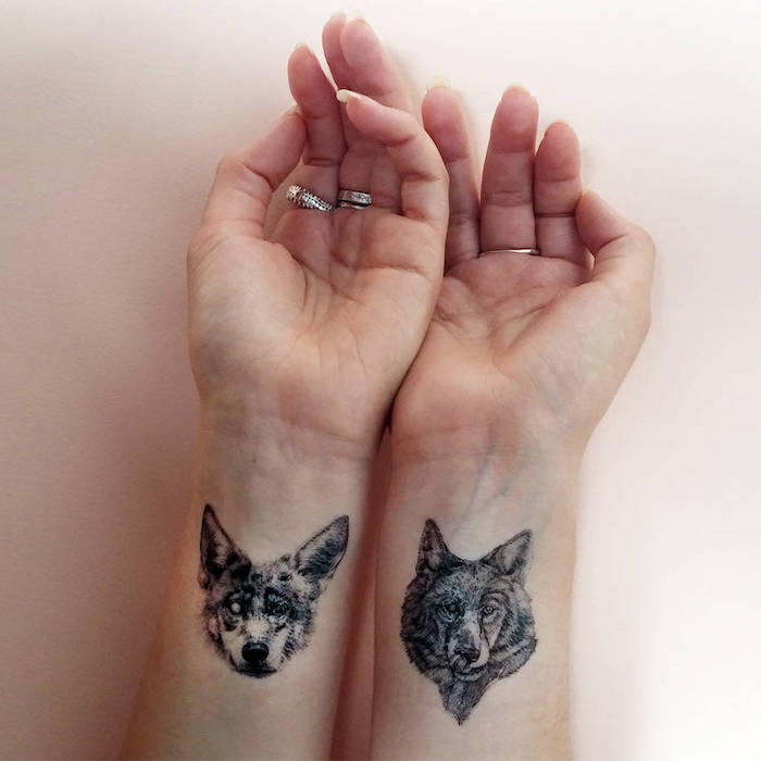 wolf heads, what tattoo should i get, wrist tattoos, silver rings