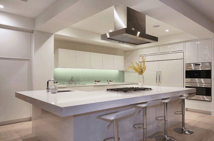 minimalist style, mint green backsplash, led lights, white bar stools, floating kitchen island, white cabinets