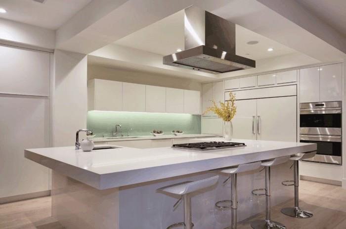 minimalist style, mint green backsplash, led lights, white bar stools, floating kitchen island, white cabinets