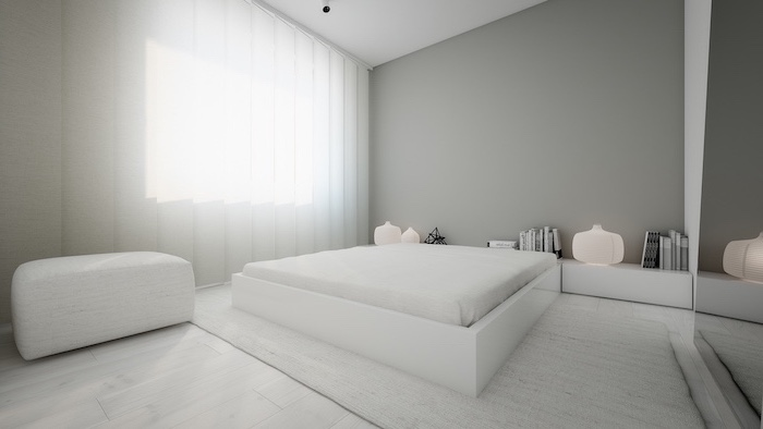 white ottoman, minimalist style, grey wall, white curtains, pinterest bedroom, white bed frame and shelves