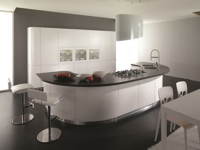 curved kitchen island, white leather bar stools, kitchen island with seating for 4, grey and white cabinets