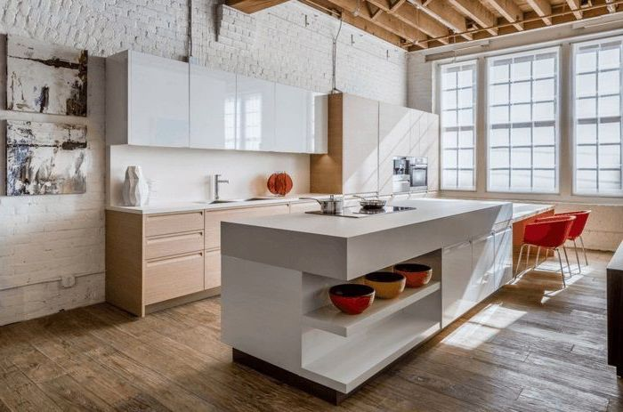 wooden floor, how to make a kitchen island, white brick wall, red chairs, wooden cabinets