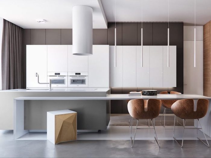 wooden chairs, grey walls, white cabinets, kitchen island with seating for 4, granite floor