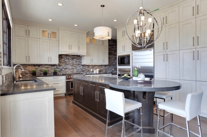 how to make a kitchen island, curved with wooden cabinets, white cabinets, wooden floor, white leather bar stools