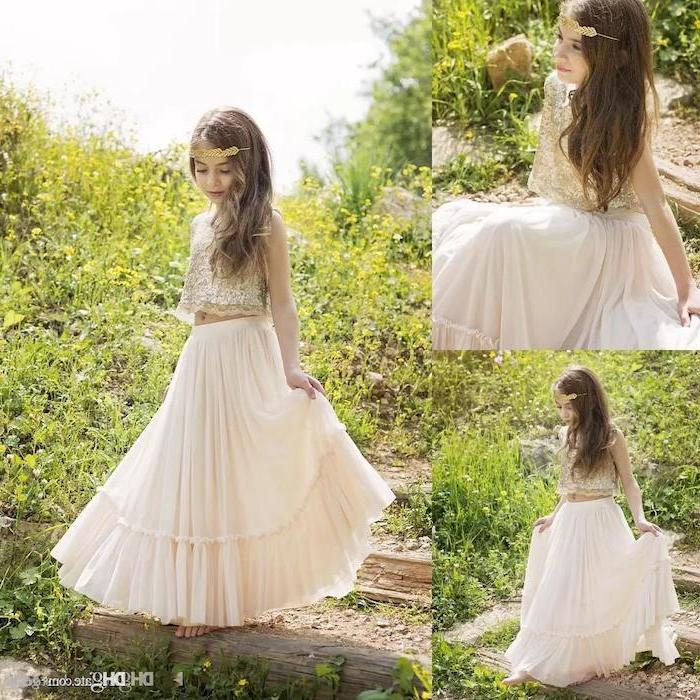 long brown hair, lace top, ivory skirt, boho style, toddler flower girl dresses, green grass field