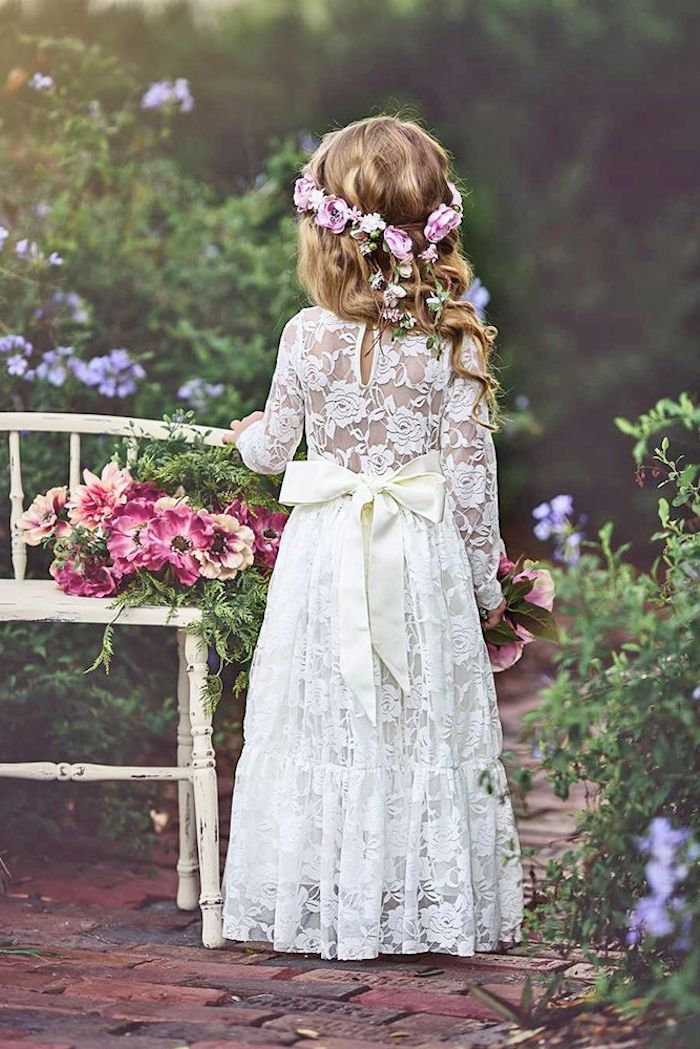 flower crown, vintage white lace dress, with a white bow, flower girl shoes, wooden bench, flower bouquets