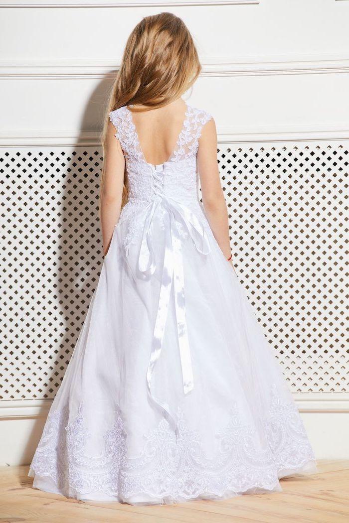 white lace dress, white satin bow, long blonde wavy hair, toddler flower girl dresses