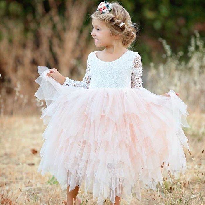 white lace top, pink tulle bottom, flower crown, flower girl shoes, blonde hair, low updo