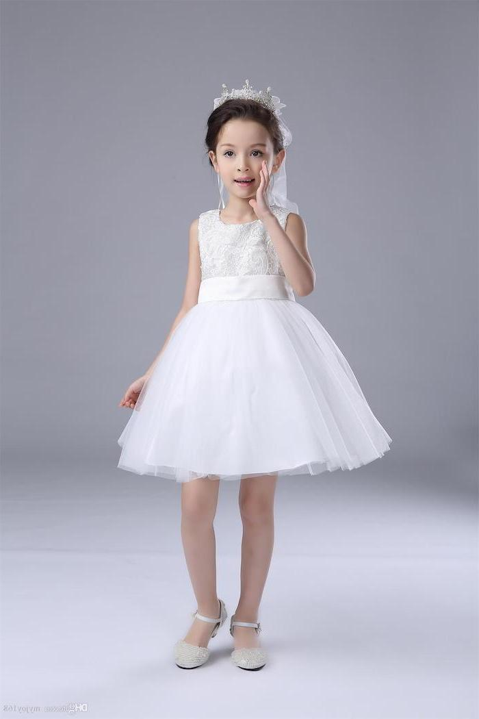 white lace and tulle dress, white background, girls dresses for special occasions, white shoes, black hair