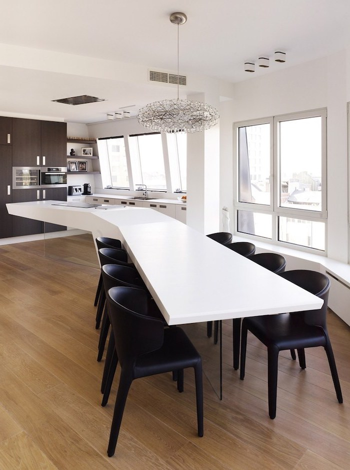 black leather chairs, white floating kitchen island, wooden floor, how to make a kitchen island
