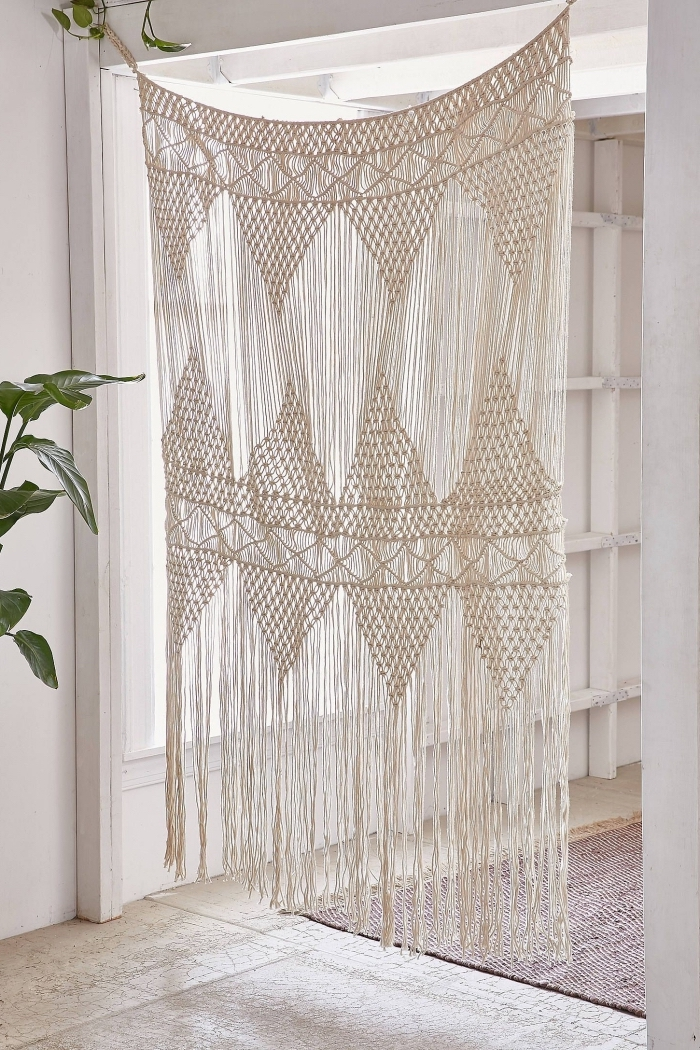 macrame room divider, white walls, macrame wall hanging patterns free, tiled floor