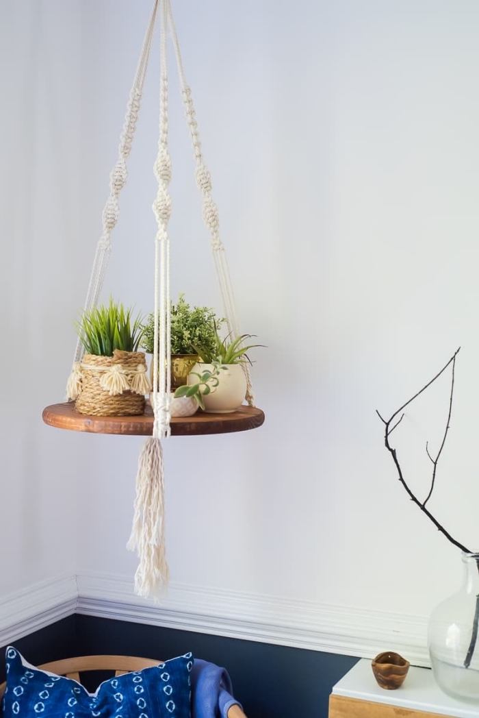 potted plants, macrame wall hanging patterns free, white wall, plant hanger