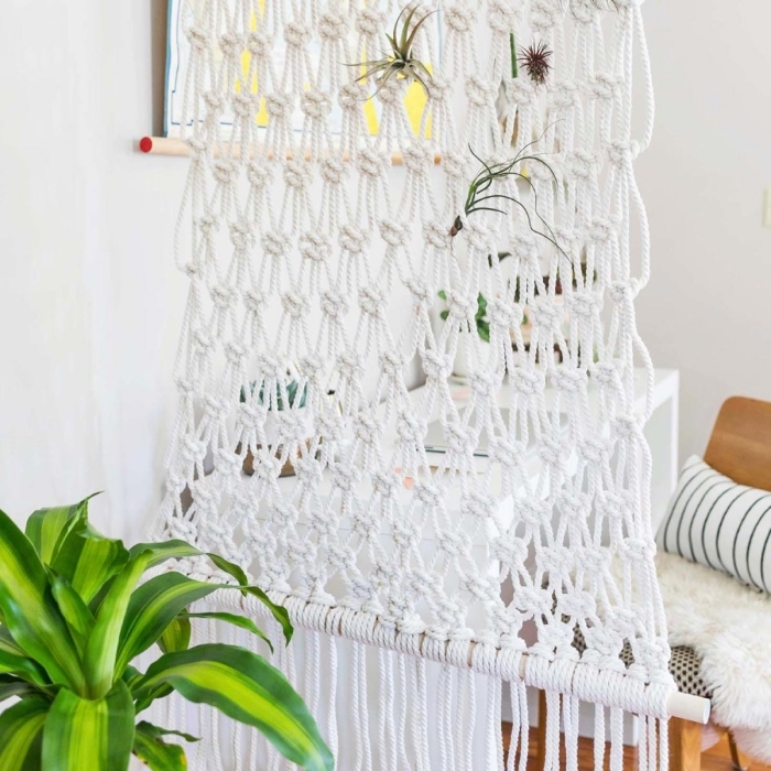 macrame room divider, white walls, macrame wall hanging patterns free, potted plant
