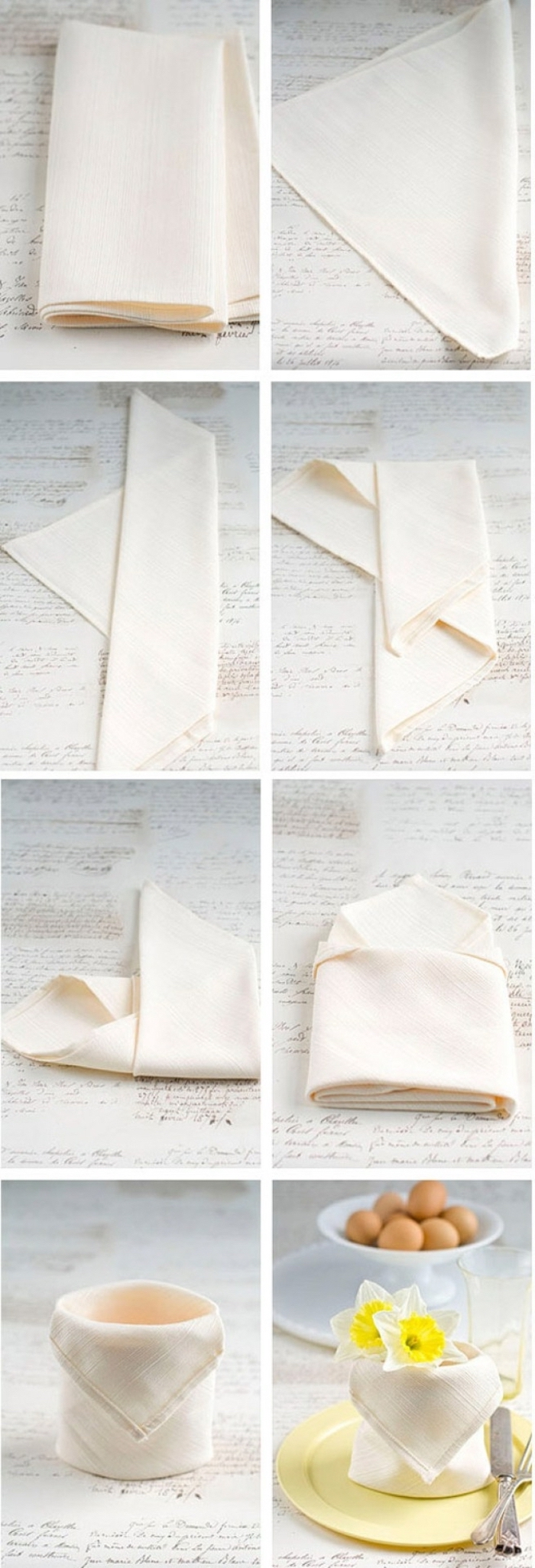 how to fold napkins with rings, white napkin, cup shaped, yellow flower inside, diy tutorial, step by step