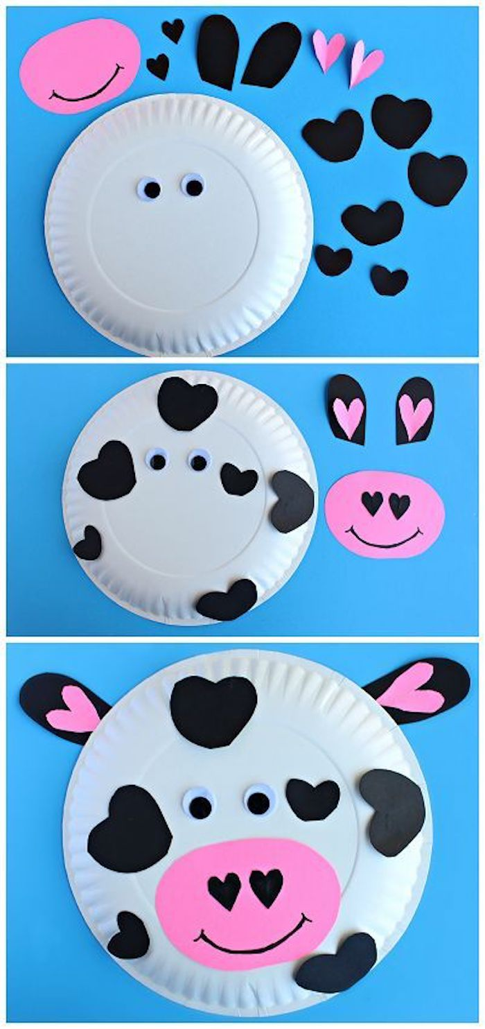 paper plate, turned into a cow, small group activities for preschoolers, black paper hearts, googly eyes