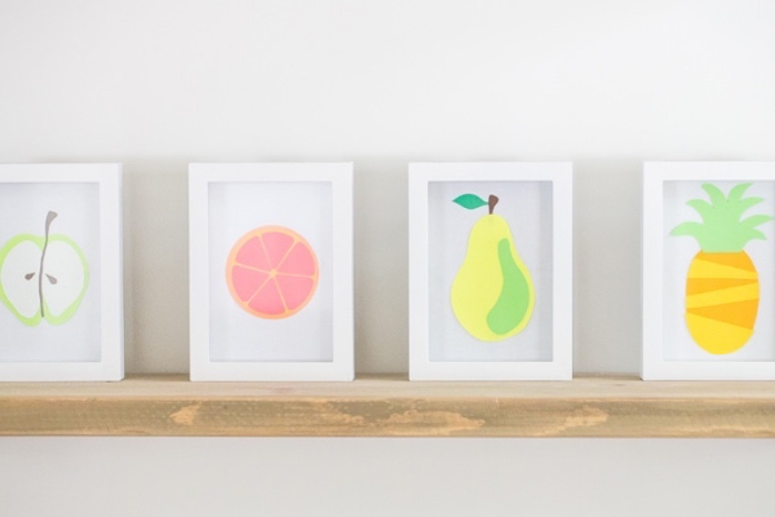 white photo frames, apple and orange, pear and pineapple, made out of paper inside, fun indoor games for kids