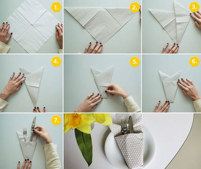 grey napkin, with white dots, napkin folding with silverware, step by step, diy tutorial
