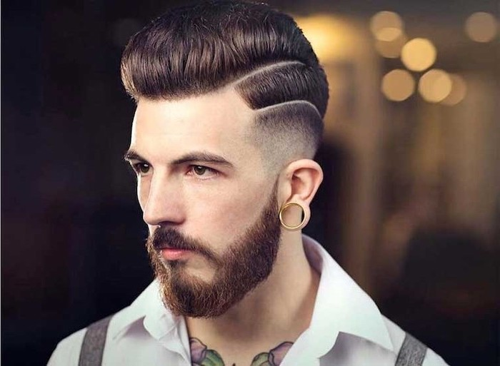 white shirt, chest tattoos, hairstyles for men with thick hair, brown hair, brown beard