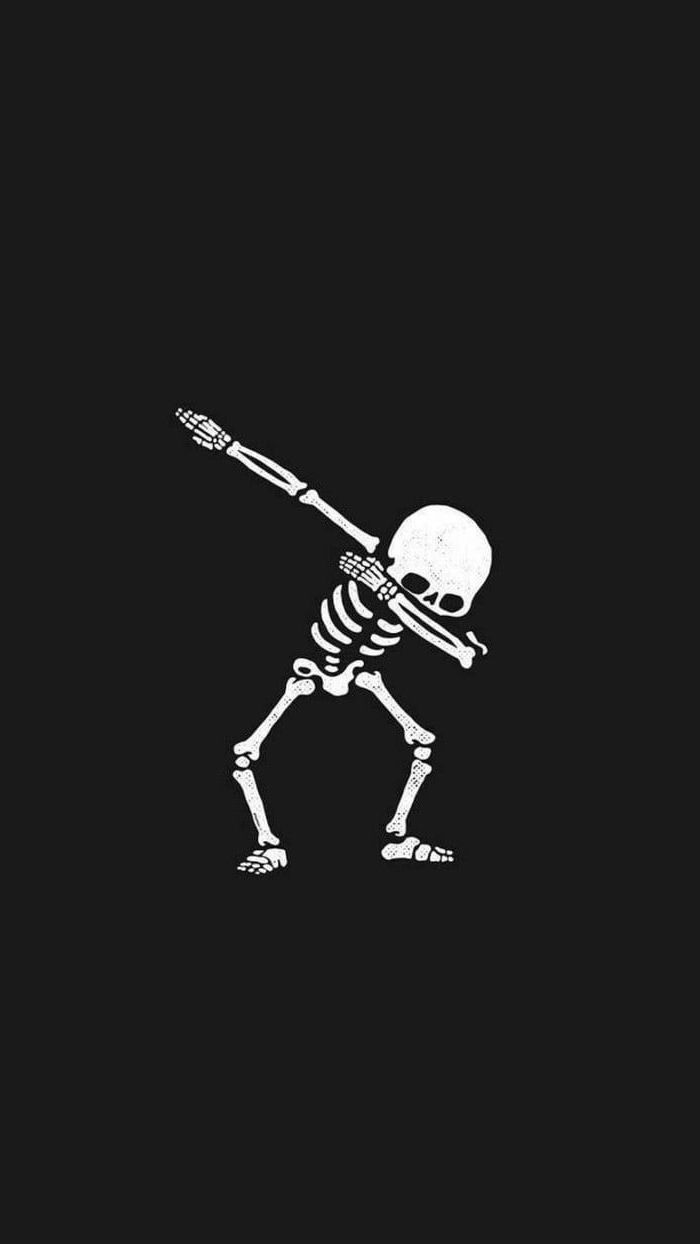white skeleton dabbing, on a black background, girly wallpapers