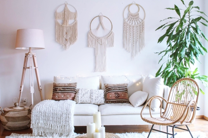 white soda, wooden chair, potted plant, macrame wall hanging patterns free, white blanket