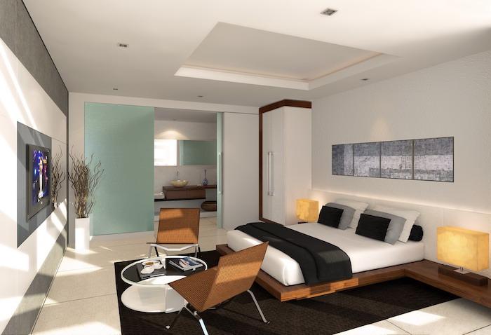 blue room dividers, white tiled floor, bedroom wall ideas, white walls, black carpet, wooden bed frame