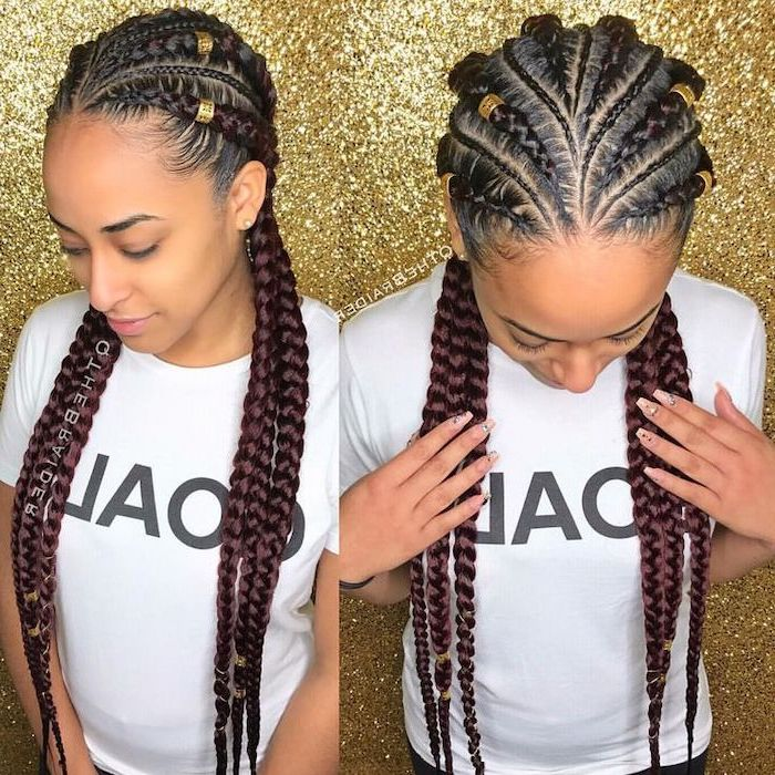 girl with brown har, in front of a gold glittered background, braids hairstyles pictures, with beads