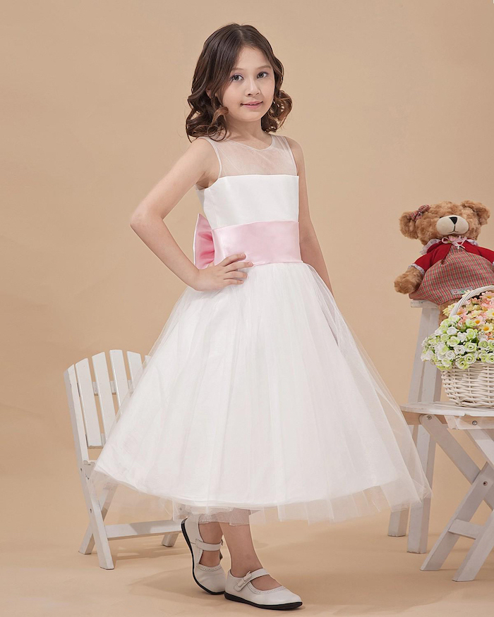 white tulle dress, pink bow, white shoes, girls dresses for special occasions, wooden chair and table