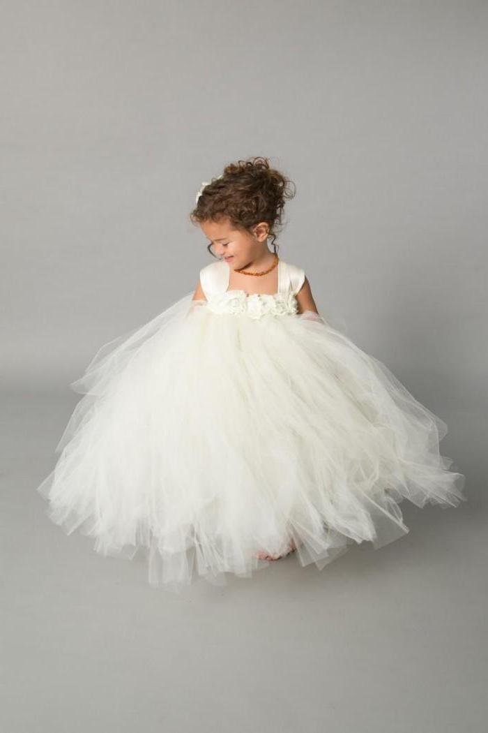 white tulle dress, brown curly hair, in a low updo, girls dresses for special occasions, white background