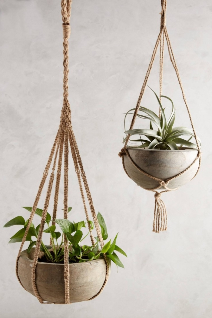 ceramic pots, potted plants, plant hangers, white wall, macrame wall hanging tutorial