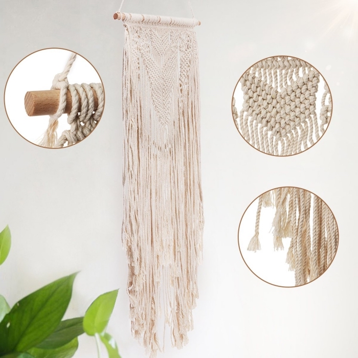white wall, macrame patterns, step by step, diy tutorial