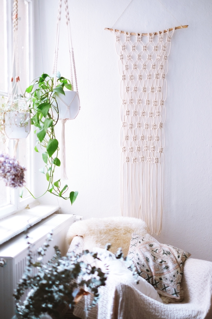 potted plants, plant hanger, furry blanket, macrame wall hanging tutorial, white wall, patterned throw pillow