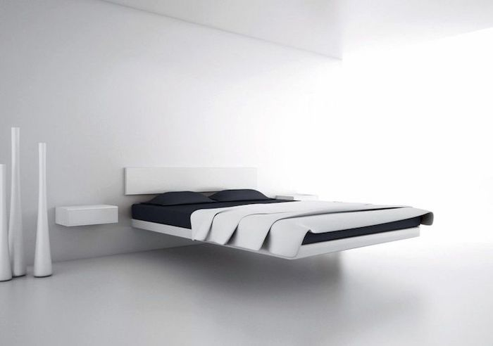 bedroom wall ideas, minimalist style, white floating bed, black bed linen, white walls and floor