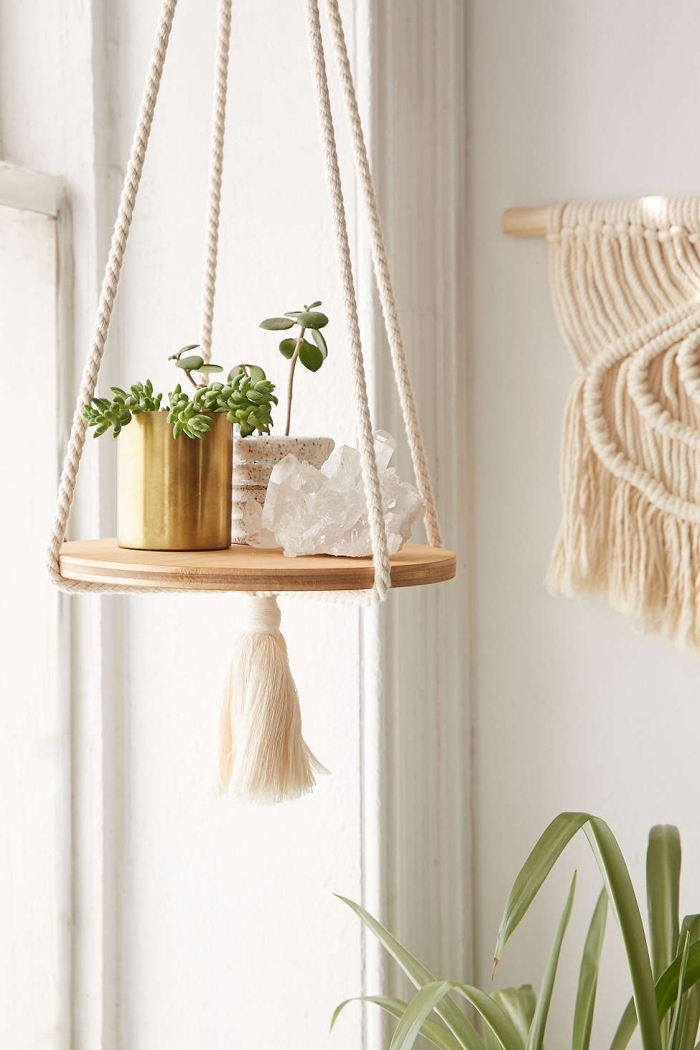 potted succulents, plant hanger, white wall, macrame wall hanging tutorial