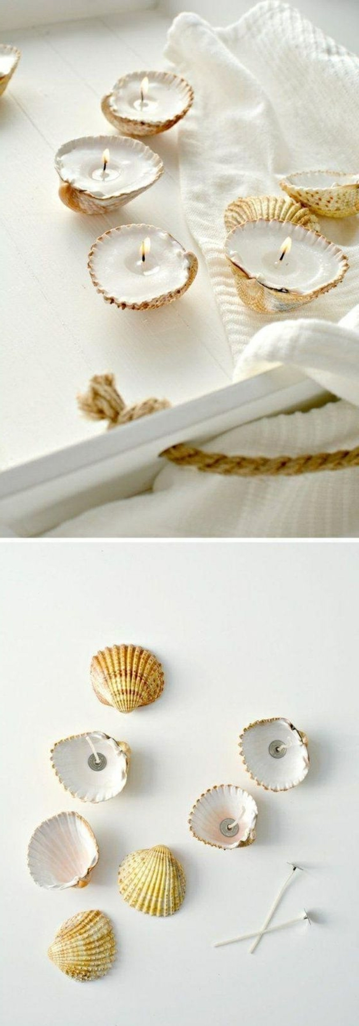 seashell candles, on a white tray, white towel, make your own candles