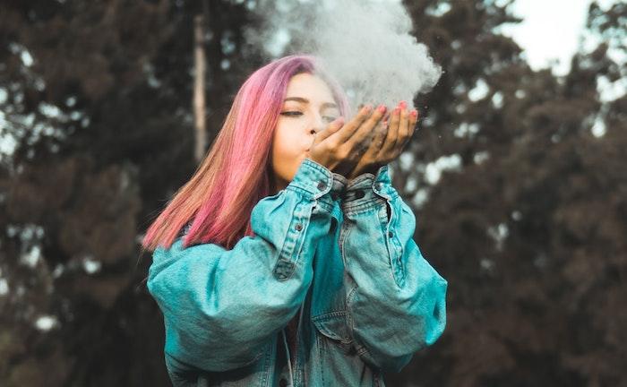tumblr computer backgrounds, denim jacket, pink hair, forest landscape