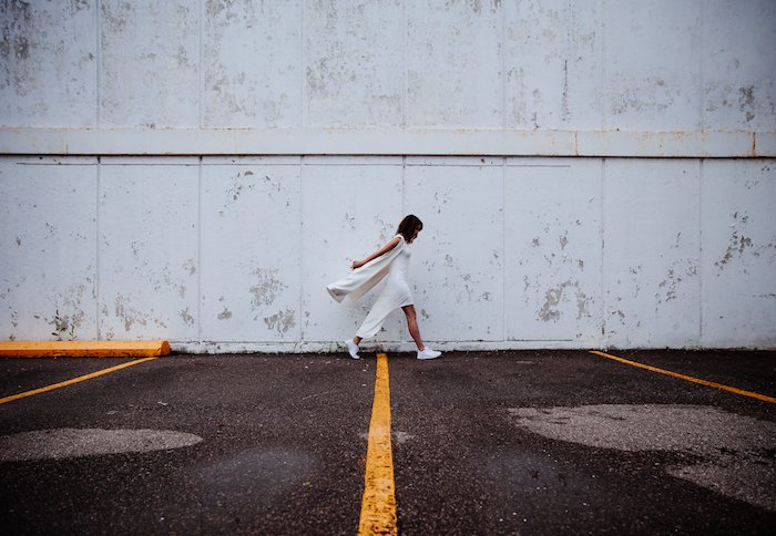 woman walking, wearing a white dress, white sneakers, tumblr computer backgrounds, white wall