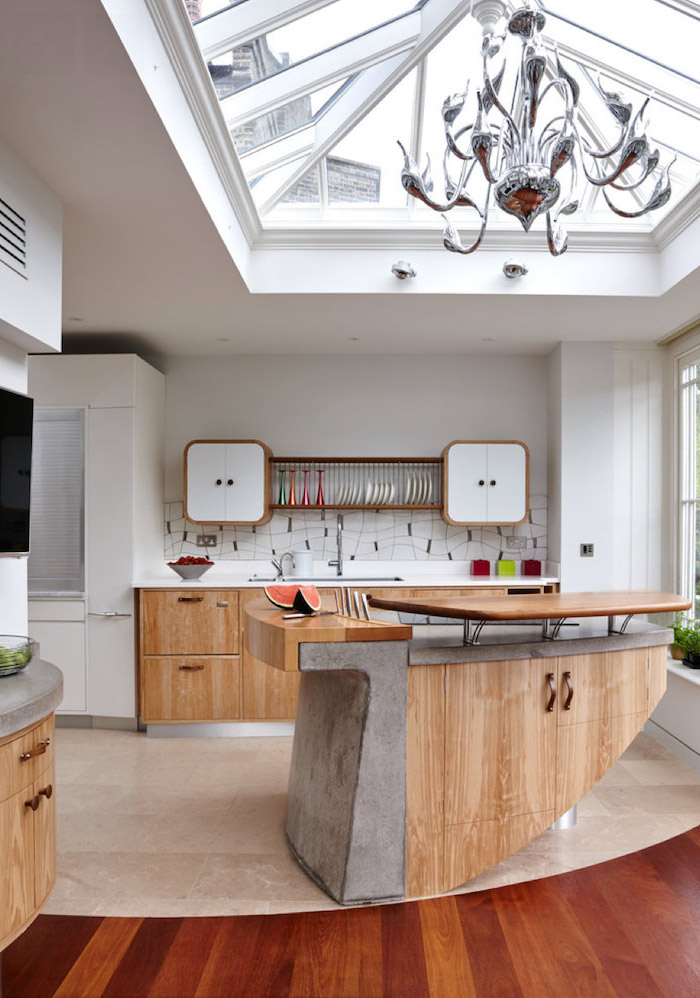 wood and granite, kitchen island with seating for 4, white cabinets, open shelving, tiled backsplash