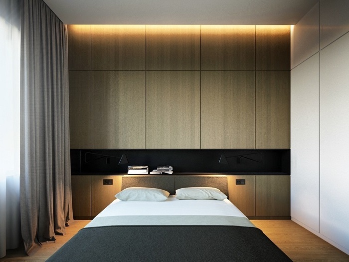 wooden accent wall, led lights, bedroom wall ideas, grey curtains, wooden floor, white wall